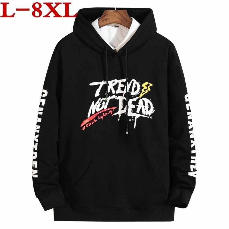 Plus Size 8XL  New Hoodie Men  Long Sleeve T Shirt Plus Size 8xl 7xl Fashion Large Size Men's Clothing Loose T-shirt Long Sleeve
