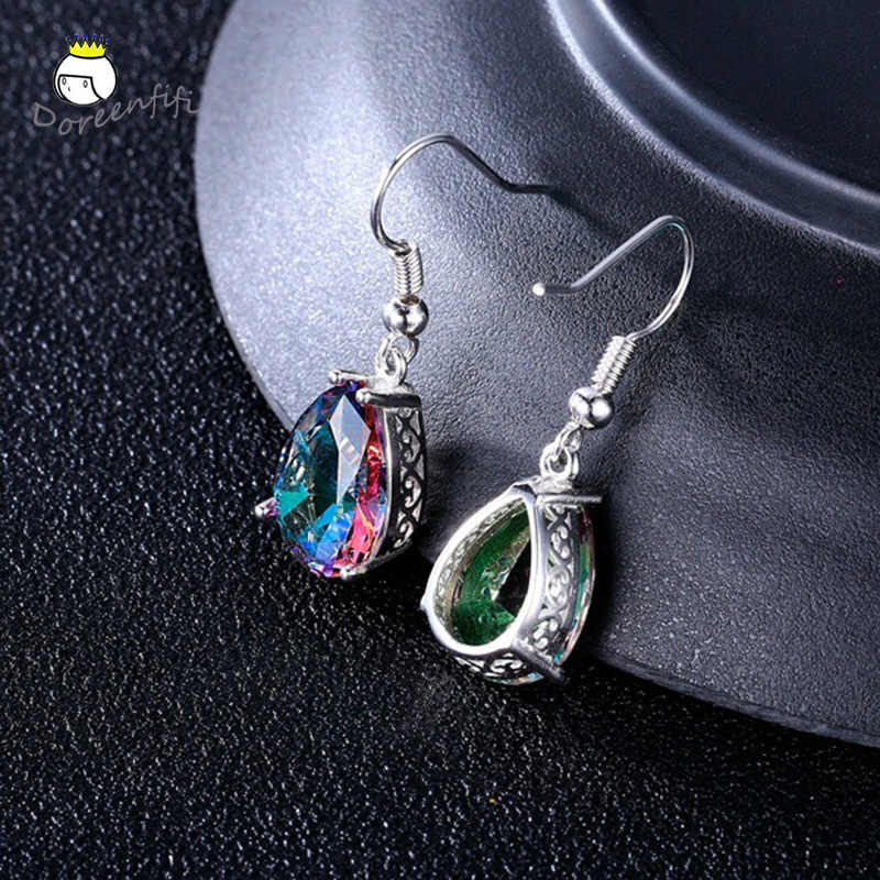 New Vintage Jewelry 925 Sterling Silver Crystal Drop Dangle Earrings for Women Female Girls Mother's Day Gift Brincos Pendientes