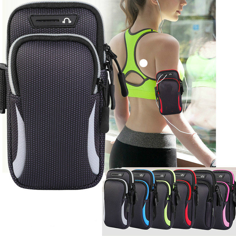 "Waterproof Sports Armband Phone Case For IPhone Pro Max For Samsung Huawei 6.5"" 7.2"" Universal Sport Phone Case Arm Band Running"