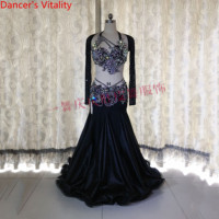Customized Slim Fit Belly Dance Rhinestone Bra Sexy Split Skirt Women Oriental Indian Drum Dance Group Competition Stage Wear