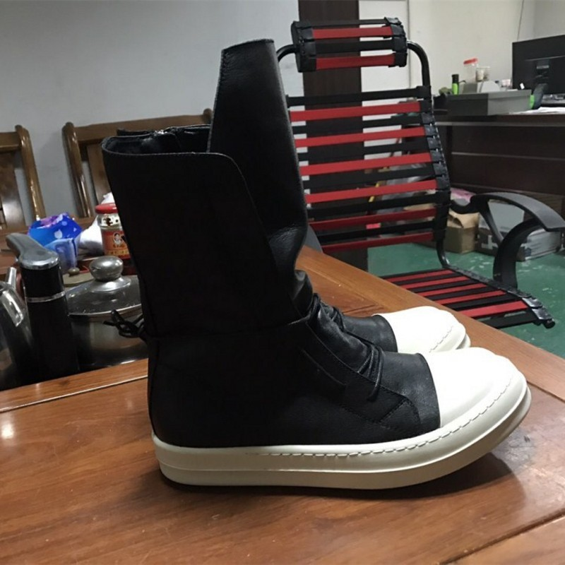 Men Genuine Leather Mid-Calf Boots Luxury Trainers Lovers High Top Boots Casual Lace-Up Zip Flats Plus Size Hip Hop Male Shoes