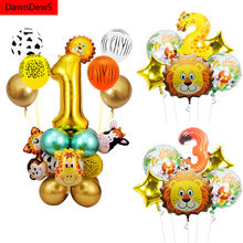 Jungle Animal Monkey Lion Balloons Foil Metallic Balloon Number 1 2 3 4 5 Happy Birthday Party Decorations Kids 1st Baby Shower