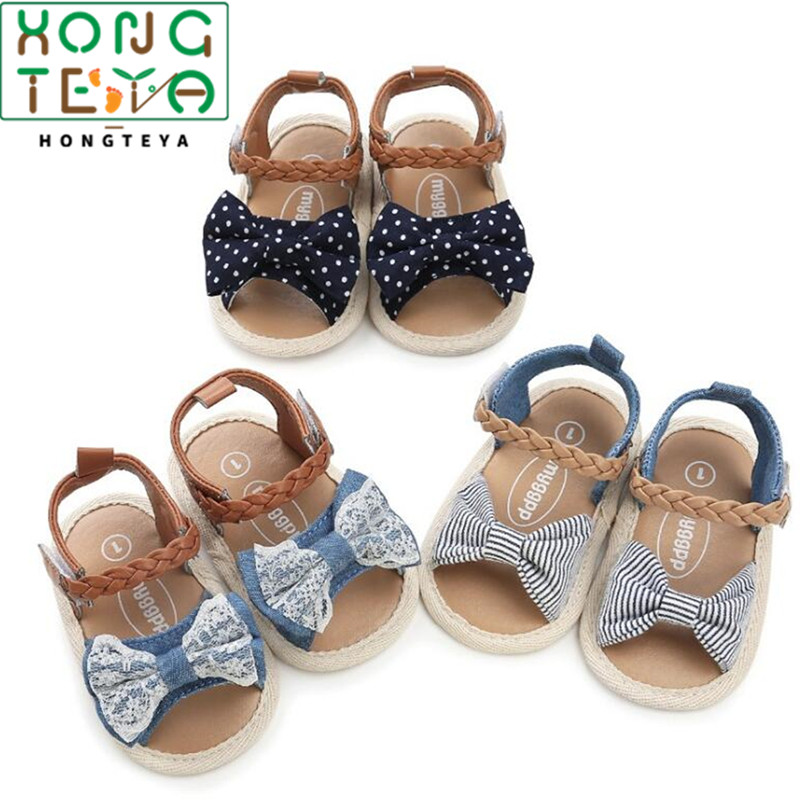 2020 Canvas Bow Soft Sole Baby Girls Summer Shoes Soft Bottom Princess Shoes Fashion Prewalkers Toddler Moccasins Newest