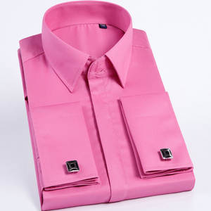 Cufflinks Shirt Long-Sleeve French Pink Men Quality Brand Slim-Fit Male Casual