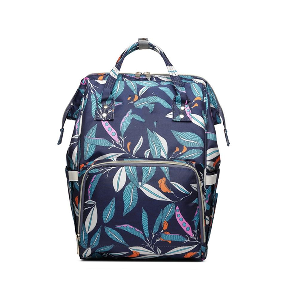 Multifunctional Nappy Travel Waterproof Large Capacity Portable Nursing Baby Care Leaves Print  Diaper Bag Mom Backpack