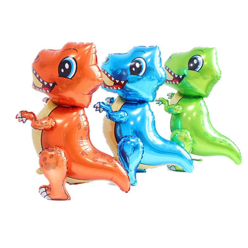 1pc 3D Aerostati della Stagnola di Dinosauro Verde Blu In Piedi Dinosauro Elio Palloncini Felice Decorazioni della Festa di Compleanno Per Bambini Ragazzi Favori Giocattoli