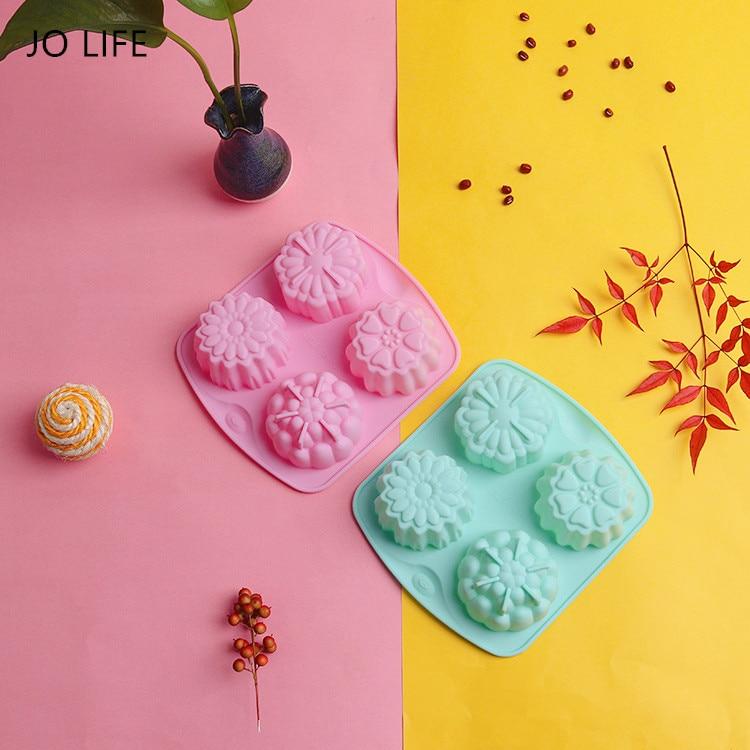 JO LIFE 4 Cavity Random Color Flower Shaped Silicone DIY Bakeware Handmade Soap Candle Cake Mold