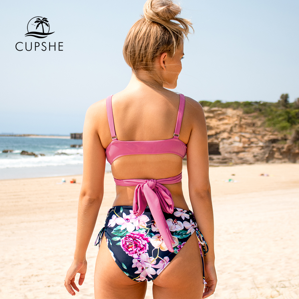 CUPSHE Pink and Floral Print Bikini Sets Sexy Lace Up Padded Cups Swimsuit Two Pieces Swimwear Women 2020 Beach Bathing Suits 1