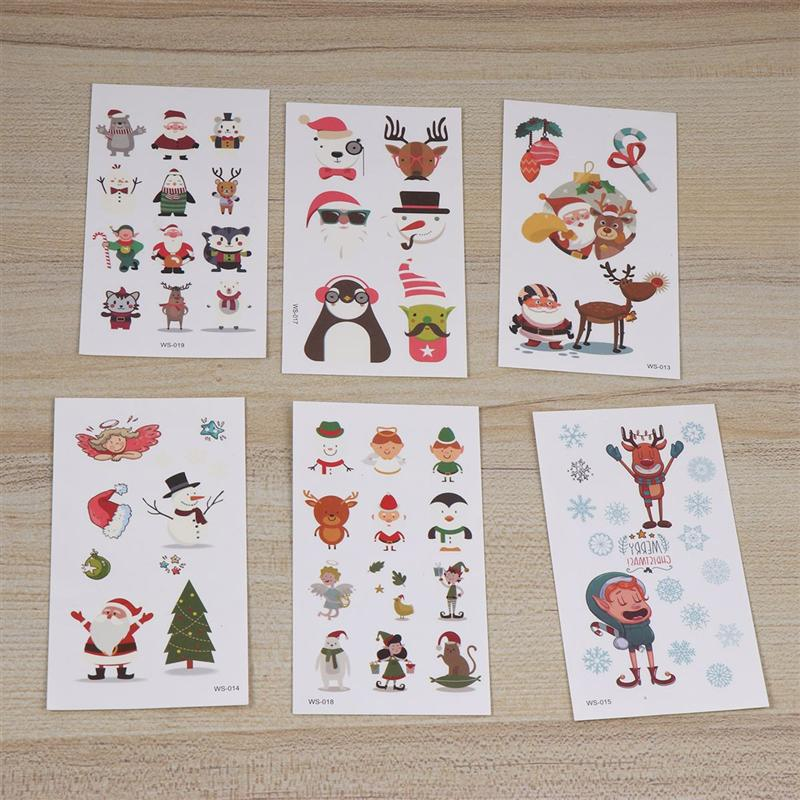 20pcs Cartoon Tattoo Stickers Waterproof Temporary Tattoos Body Art Christmas Party Body Decals For Kids Girl Boy