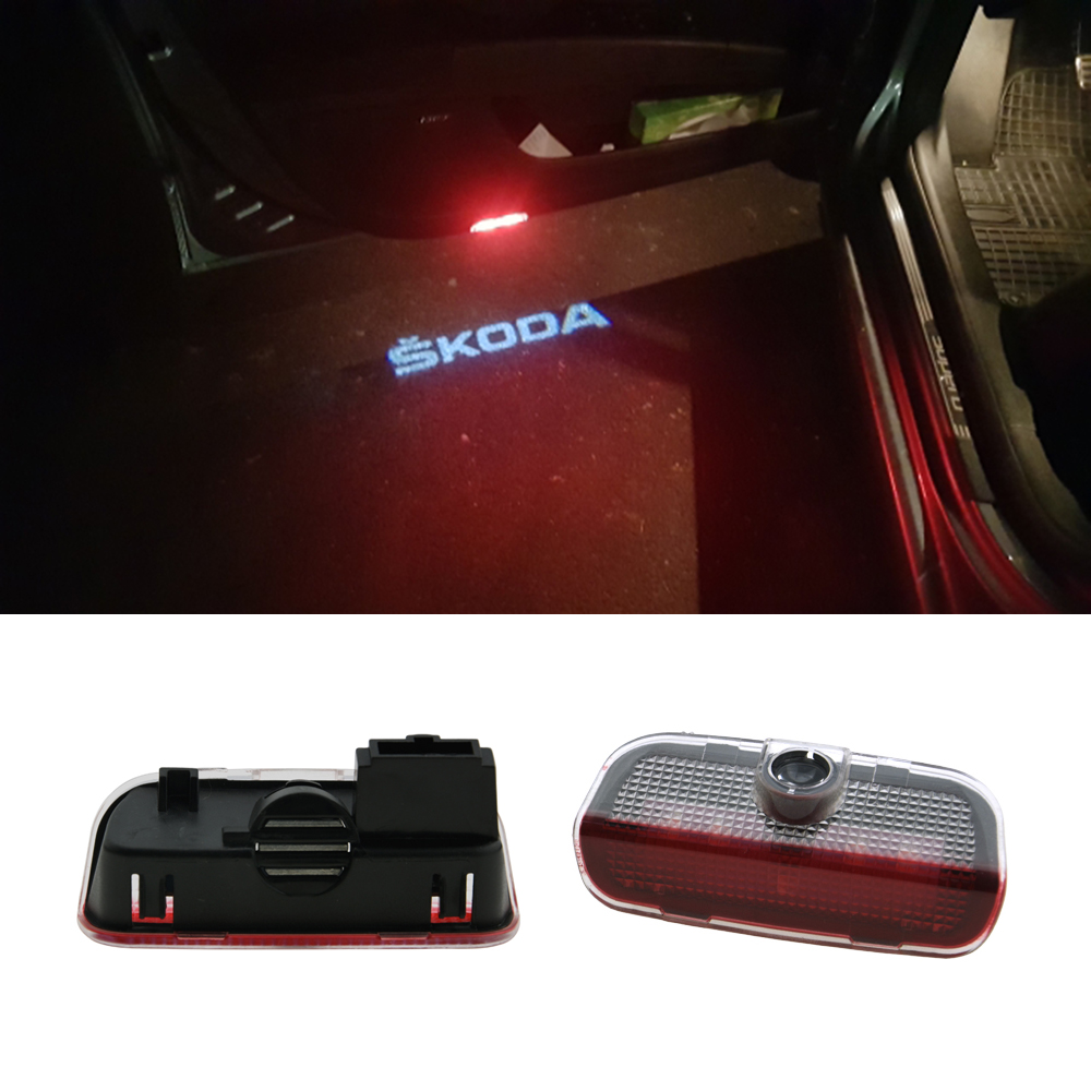 2pcs LED Car Door Welcome Light Laser Projector Logo Light For Skoda Superb 2009 2010 2011 2012 2013 2014 2015 Car Accessories