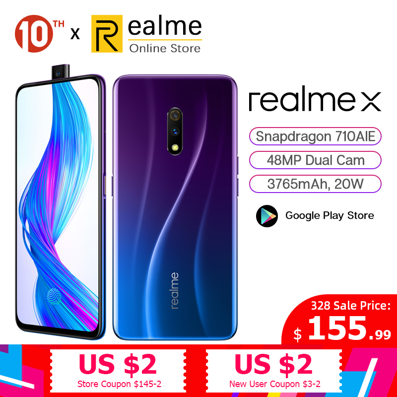 Original Realme X 64G / 128G Snapdragon 710 Moblie Phone 6.53'' Full Screen Pop-up Front Cam Cellphone 20W VOOC Fast Charge 3.0