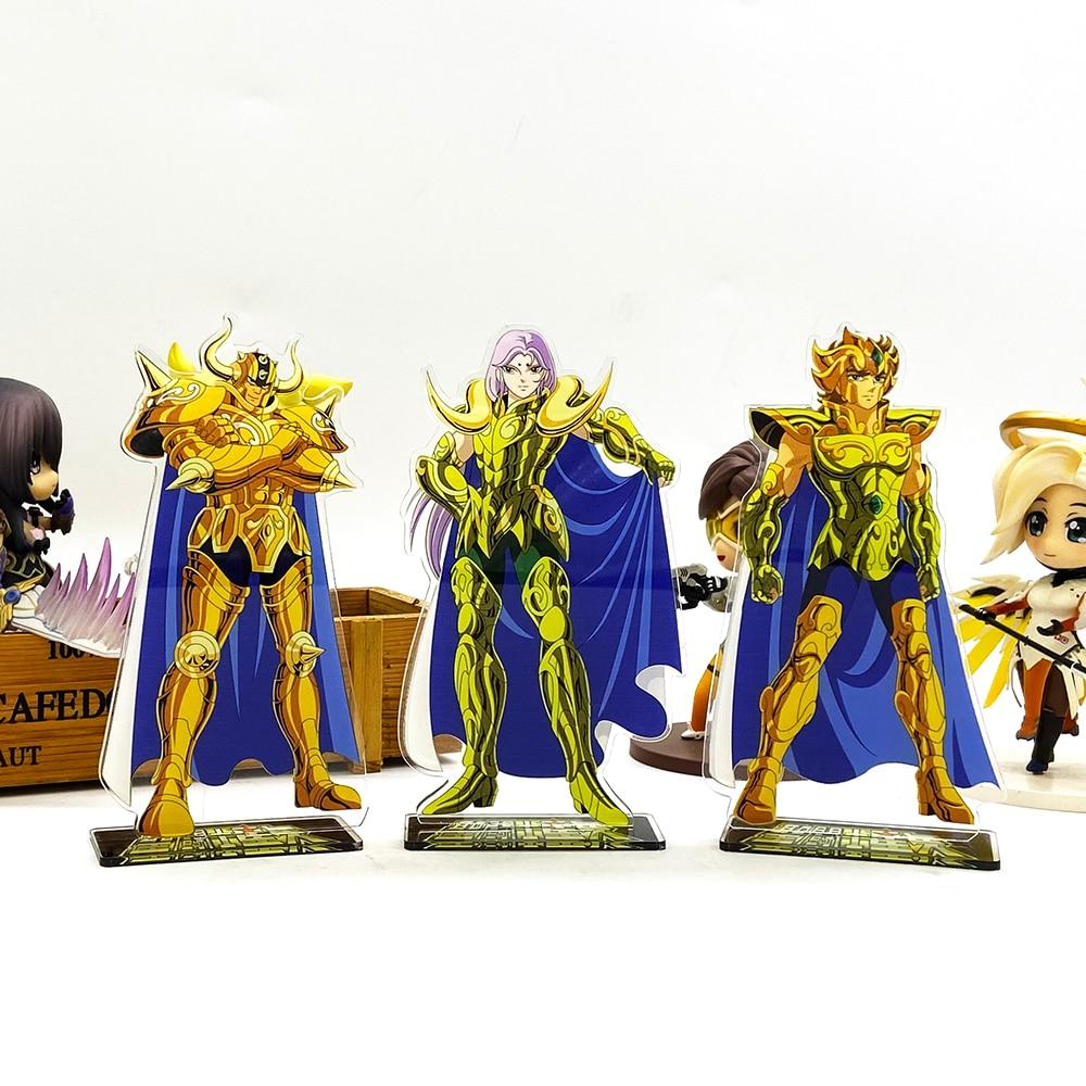 Saint Seiya Zodiac Aldebaran Mu Aiolia Acrylic Stand Figure Model Plate Holder Cake Topper Anime Japanese