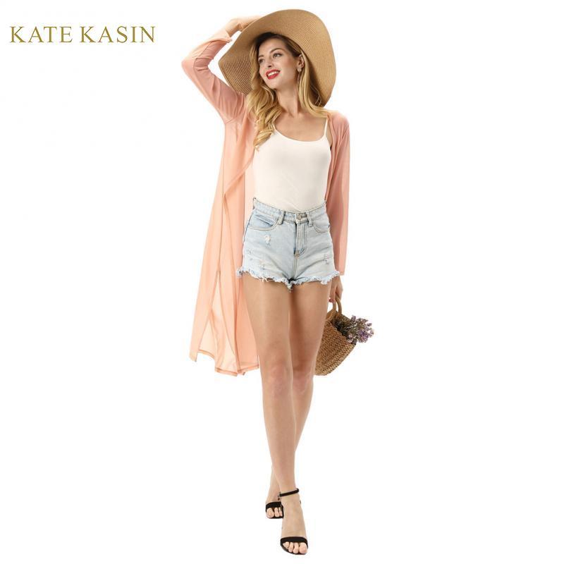 Kate Kasin Women Lightweight Sheer Long Kimono Cardigan Semi See-Through Cover-Up Side Split Long Sleeve Beach Boho Cardigans