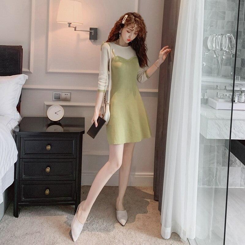 Femmes o-cou décontracté dames robes automne 2019 trois quart a-ligne Mini Robe vert contraste Robe formelle femmes Robe élégante