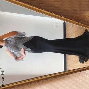 Image 3 - Serene Hill Black Mermaid Sexy Jersey Evening Dresses Gowns 2020 Luxury Beading Tassel Elegant For Women Party LA70346