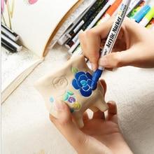 18 colors Acrylic Paint Marker pen Detailed Marking Color Paint Pens for Ceramic Mug Wood Fabric Canvas Rock Glass Porcelain