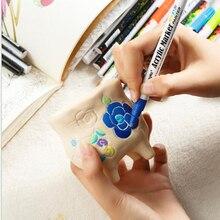 18 ألوان الاكريليك قلم طلاء القلم مفصلة بمناسبة لون الطلاء أقلام ل السيراميك القدح الخشب النسيج قماش روك الزجاج الخزف