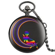 Gökkuşağı yıldız ay melek desen ekran erkekler kadınlar siyah kasa kuvars Steampunk hediye öğesi cep saati cep saati zincir saatler