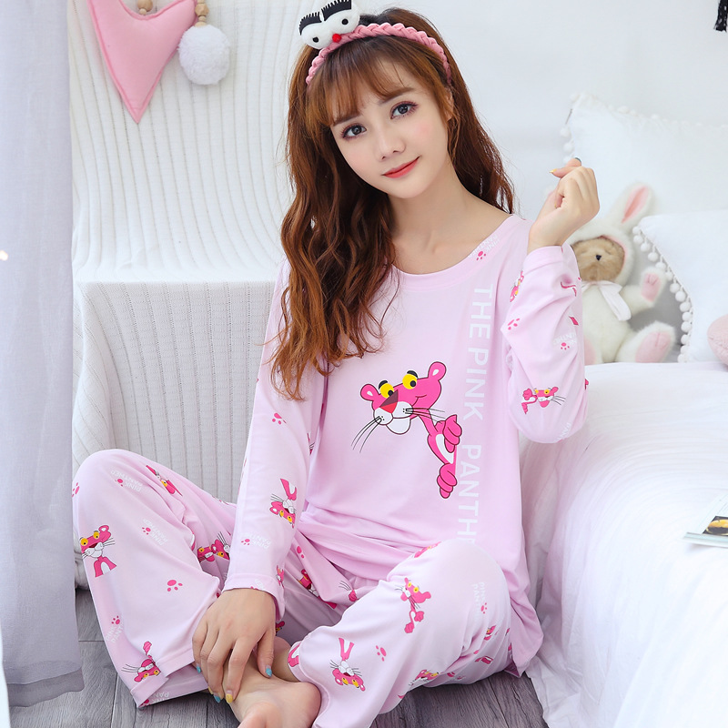 [[Jun Xin]] Autumn Long Sleeve Pink Panther Qmilch Cartoon GIRL'S Pajamas Suit M -Xxl