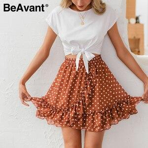 Image 5 - BeAvant Boho summer pleated mini skirts womens High waist polka dot short skirt pink A line floral printed ruffle chiffon skirts