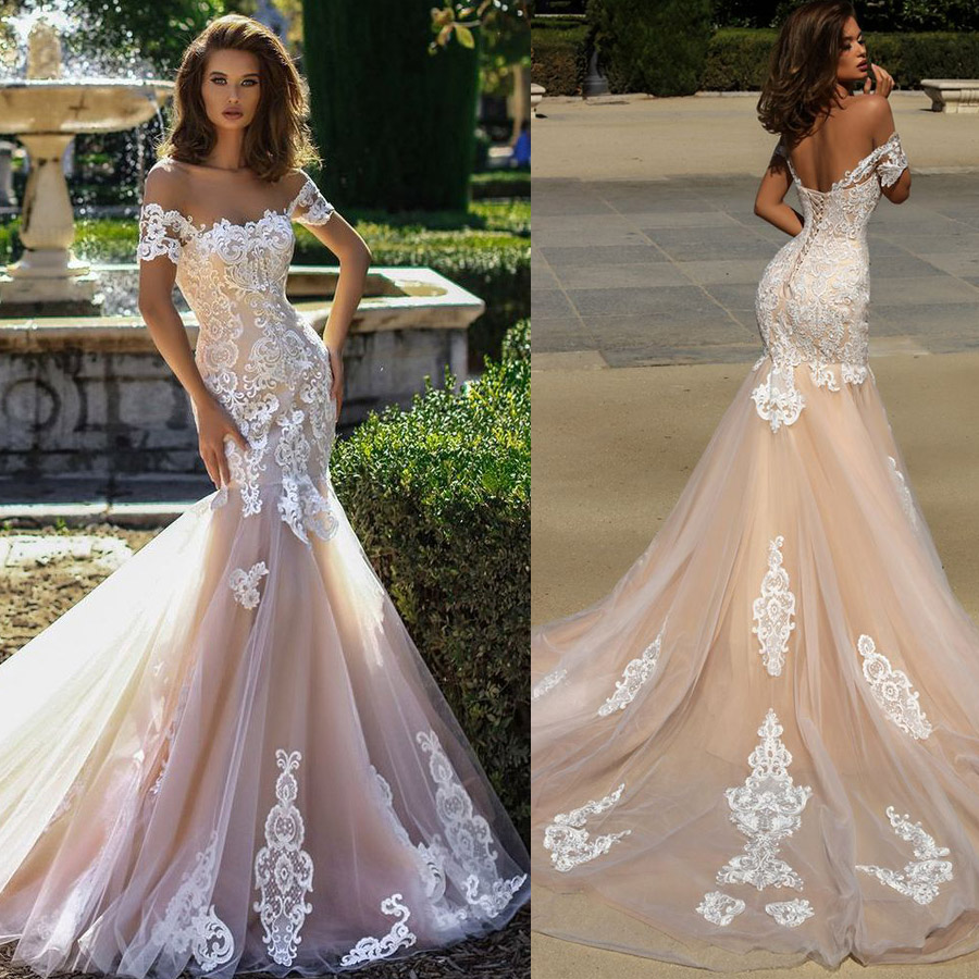 Strapless Neckline Off The Shoulder Beading Lace Applique Mermaid Wedding Dress Lace-up Champagne Sweep Train Sexy Bridal Dress