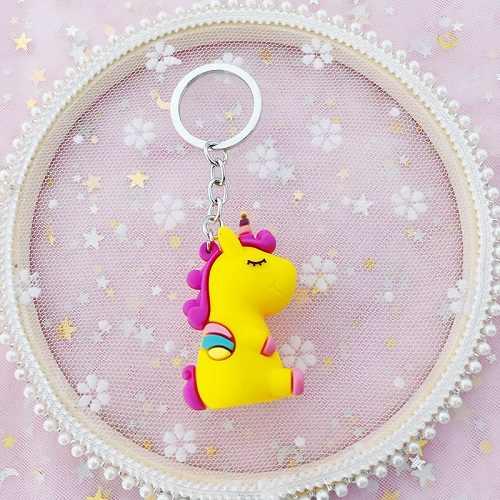 2019 Unicórnio Dos Desenhos Animados PVC Macio Chaveiro de Borracha 3D Anime Animal Bonito Cavalo Chaveiro Chave Pingente de Chave Chave de Anel Toy Kids titular Trinket