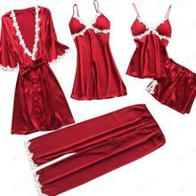 5 Pieces Pjs Women Pajamas Sets Satin Sleepwear Pink Silk Nightwear Pyjama Sexy Lingerie Lace