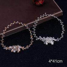 Fashion Leaf Design Bridal Headband Simple Ladies Rhinestone Head Hoop Headdress Women Hair Jewelry
