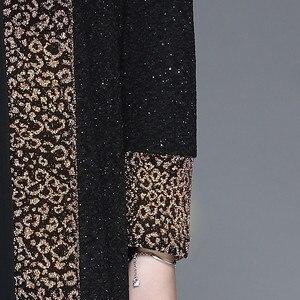 Image 5 - Inverno elegante mãe ocasional vestido longo retro impresso dois pçs vestido de meia idade feminino temperamento vestido de festa plus size L 4XL