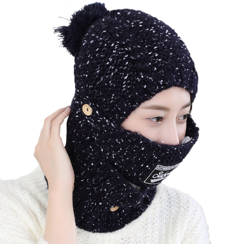 New Women Balaclava Knitted Winter Hats For Female Thick Mask Skullies Beanies Warm Caps For Girls Ladies Snow Cap & Scarf