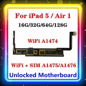 A1474... A1475 / A1476 desbloqueado para Ipad 5 Placas lógicas Wifi-celular (SIM) para Ipad aire 1 Placa base con chips completos