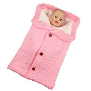 Image 5 - Baby Sleeping Bags Envelope Winter Warm Footmuff Toddler Blanket Wool Sleepsack Button Knit Swaddle Wrap Swaddling Stroller Wrap