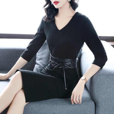 MLCRIYG nouveau automne robe d'hiver femmes élégant sexe col en V soirée robes de soirée dame bureau travail robe de haute qualité LX329