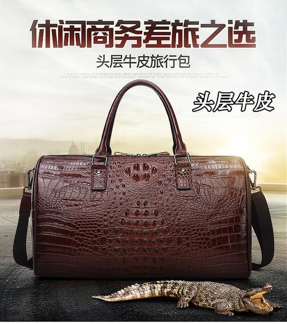 Leather alligator travel bag men's large capacity luggage bag women's leather business boarding bag portable fitness bag 4
