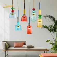 Iluminação moderna de vidro led macaron, lâmpada pingente de vidro moderna para decoração de restaurante, sala de estar, sala de estar, interior