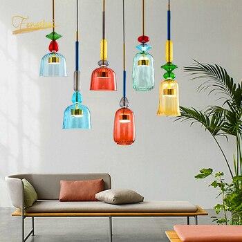 Modern Macaron LED Glass Pendant Lights Lighting Bedroom Living Room Interior LOFT Lamp Restaurant Indoor Decor