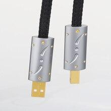 2020 ויבורג UC01 HI End כסף מצופה OFC USB אודיו כבל Audiophile USB AB A B DAC זהב ציפוי DAC מפענח מדפסת כבל נתונים