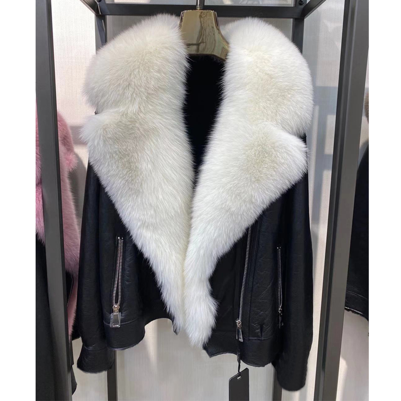 H31f5933df8e84d458b7fb101fdccff331 Winter Real Fur Coats Natural Women High Quality Genuine Leather Jacket With Big Fox Fur Turn-down Collar Luxury Overcoats 2021