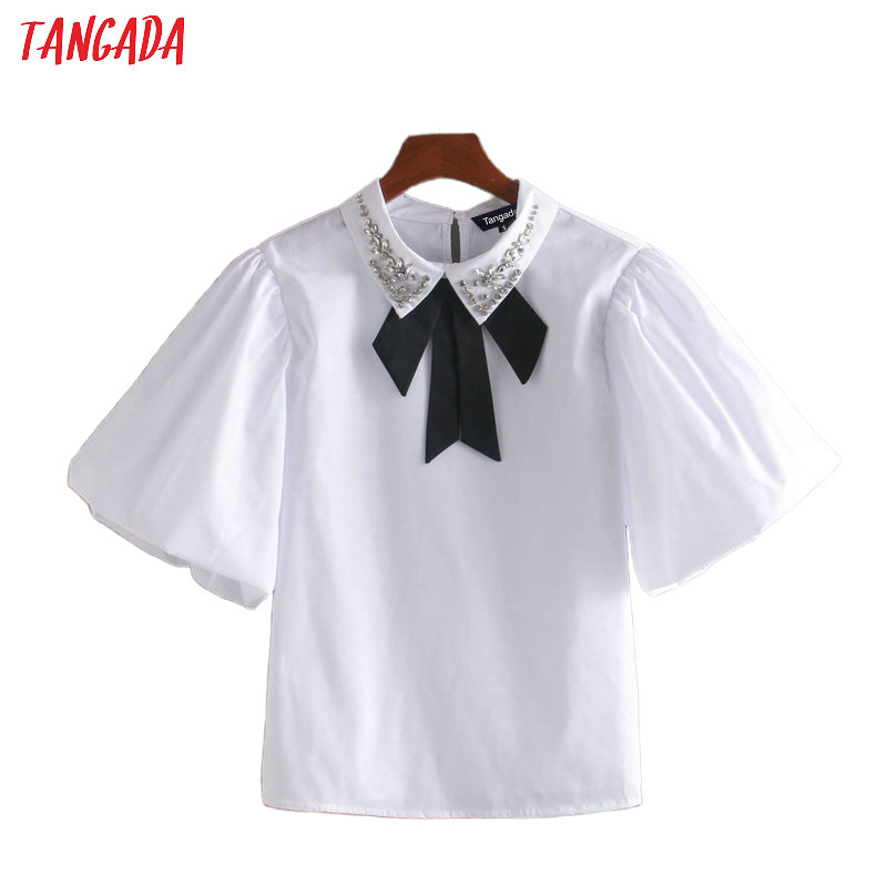 Tangada Women Beading Bow Tie White Cotton Shirts Summer Short Sleeve Female School Style Sweet Blouses CE201