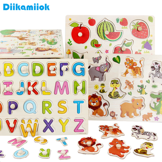 Baby Montessori Wood Jigsaw Puzzle 3d Alphabet Animals Kids Educational Toys Hand Grasp Wooden Puzzles for Children Toy Games 1