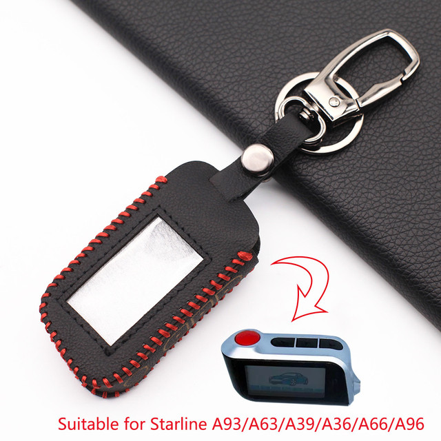 2020 Praise Leather Key Case for Starline A93 A63 Russian Version Two Way Car Alarm LCD Remote Controller Keychain Fob Cover