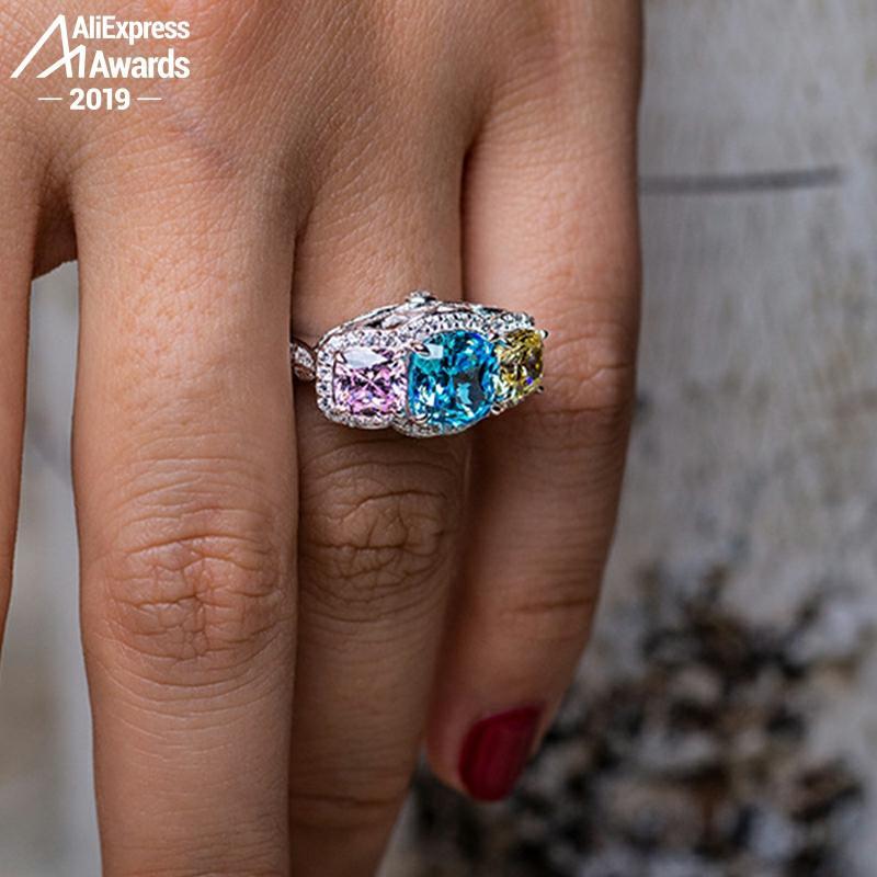 Pas faux 8*8mm bague en diamant taille coussin pas faux S925 argent sterling citrine saphir améthyste rubis couleur diamant
