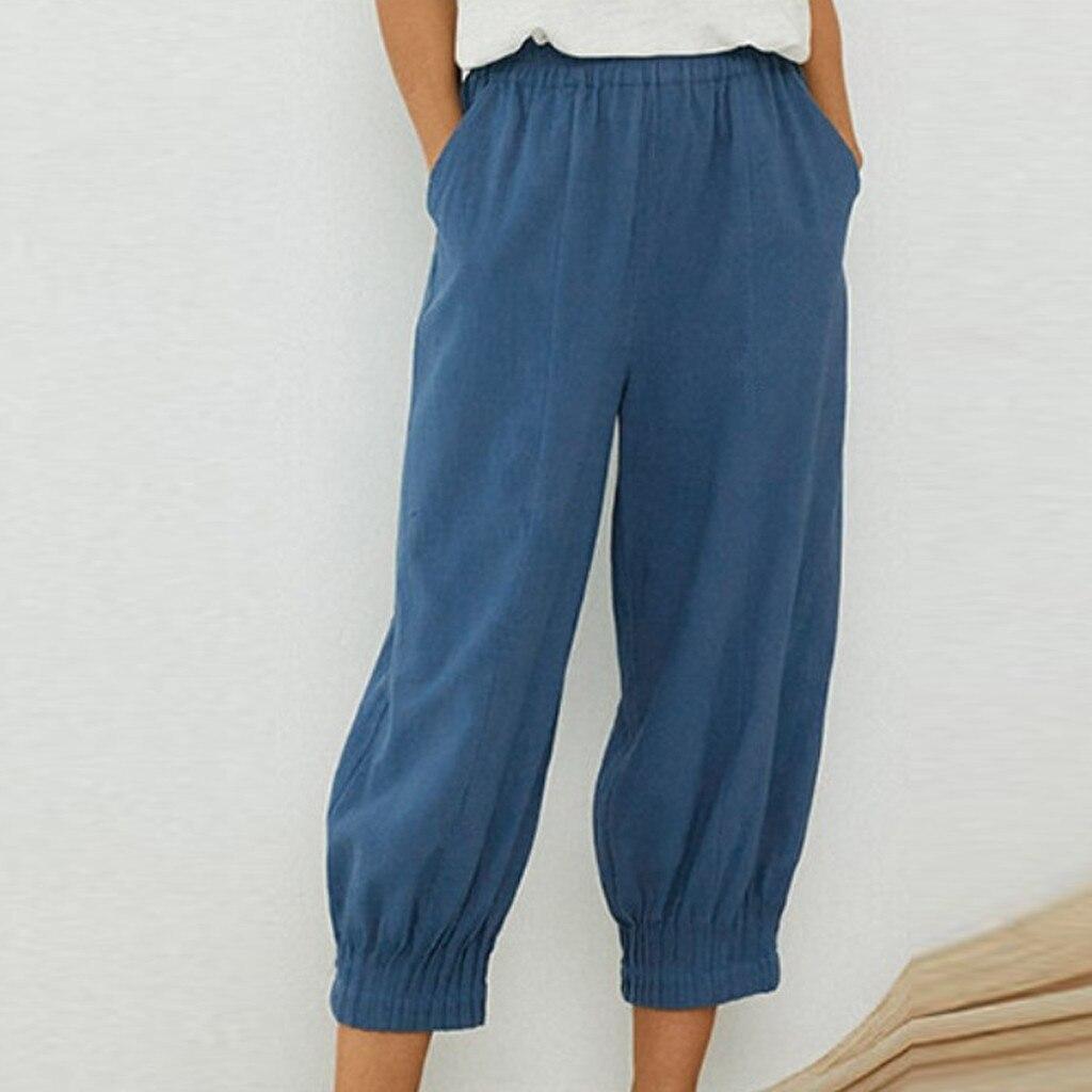 Women Pure Color capris High Waist summer Women Pleated Hem Pants Cotton Linen Trousers Loose Pants