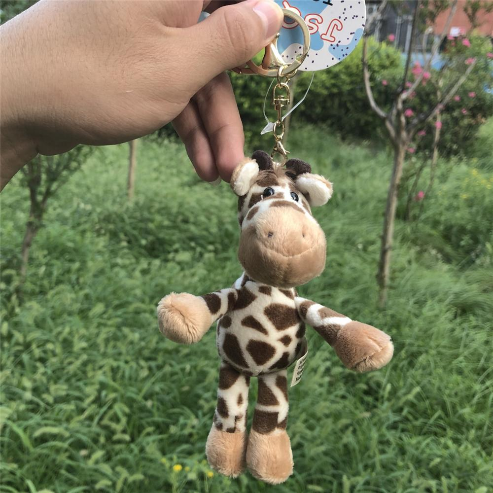 Grassland Animals Giraffe Stuffed Pendant  Keyring Plush Toy, Backpack Decoration  Keychain / Keyholder Gift