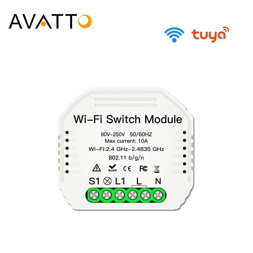 AVATTO Tuya Wifi переключатель модуль с умным управлением через приложение Life, умный дом автоматизация прерыватель Wifi работа для Alexa google Home