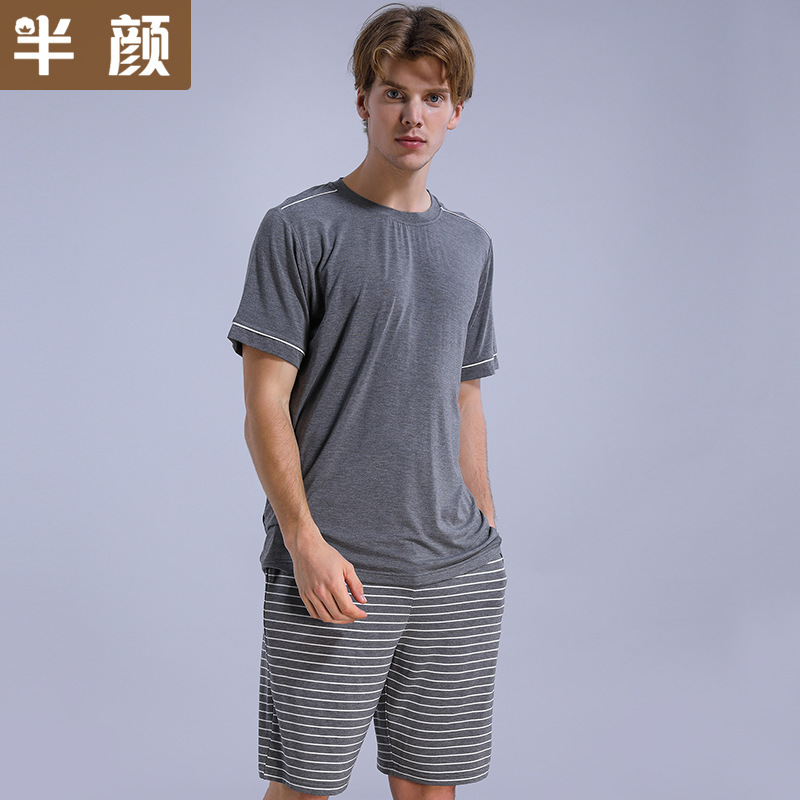 Clothing Pajamas-Set Short-Sleeved Striped Men's Summer Home Modal Healthy Large-Size