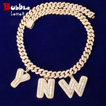 Custom Name Baguette Letters With 10MM Cuban Chain Pendants Necklaces Men's Zircon Hip Hop Rock Jewelry Letter Replaceable