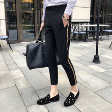 Красивые весенние и летние мужские модные изысканные полосатые декоративные мужские повседневные брюки, брюки длиной до щиколотки/тонкие мужские повседневные брюки
