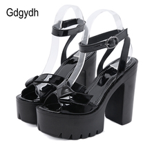 цена Gdgydh Patent Leather High Heels Sandals Women Roman Style Block Heels Nightclub Party Shoes Sexy Open Toe 2020 New Summer онлайн в 2017 году