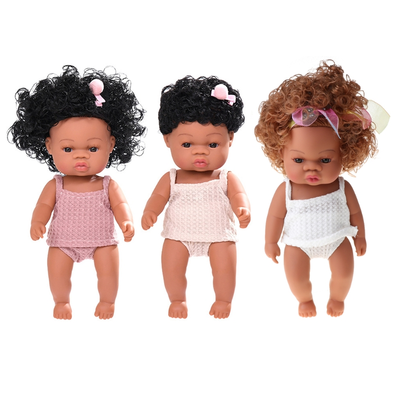 35cm poupée réaliste corps souple vinyle enfant en bas âge bébés boucles réalistes princesse fille africaine jouet